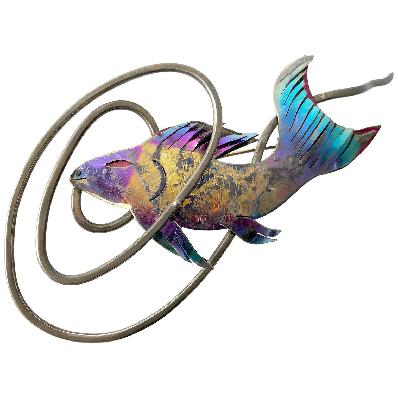 Enid Kaplan Sterling Silver Anodized Niobium Mylar Diving Fish Brooch