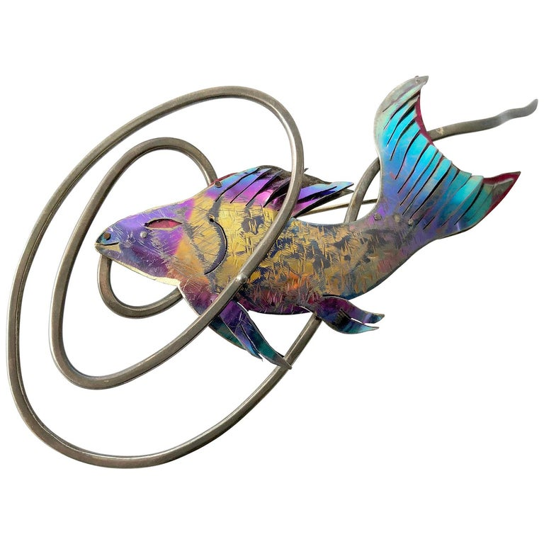 Enid Kaplan Sterling Silver Anodized Niobium Mylar Diving Fish Brooch For Sale