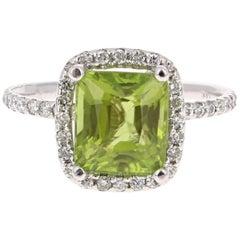 4.31 Carat Peridot Diamond 14 Karat White Gold Ring