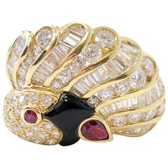 White Diamond and Ruby Peacock Cocktail Ring in 18 Karat Yellow Gold