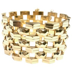 Yellow Gold Seven Row Wide Retro Bracelet