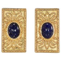 Etruscan Revival 22 Karat Cabochon Oval Lapis Earrings 17.40 Grams