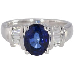2.23 Ct. Diffused Sapphire & .25 Carat TW Diamond 14K White Gold Ring 5.60gm