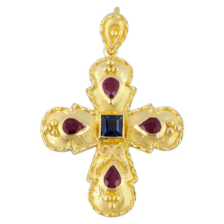 Georgios Collection 18 Karat Gold Sapphire and Ruby Cross with Granulation work  For Sale