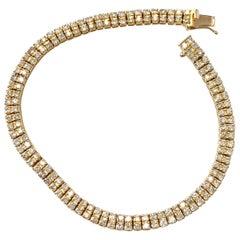 Double Row White Diamond Round Bracelet in 18 Karat Yellow Gold