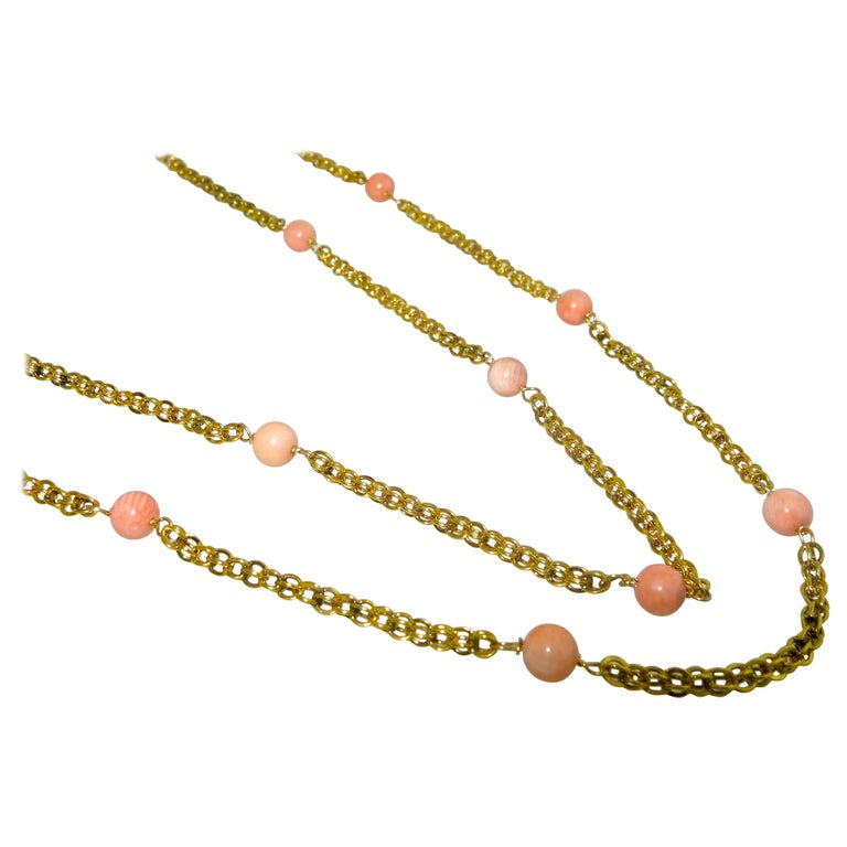 Victorian Gold Long Chain with Natural Coral Beads, circa 1890 For Sale