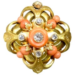 Victorian Diamond, Coral and Gold Pendant/Brooch