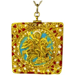 Late 18th-Early 19th Century 18 Karat Gold Enamel Pendant, circa 1790-1800
