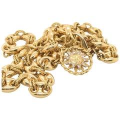 18 Karat Yellow Gold Nautical Link Chain Necklace with Diamond Set Sun Charm