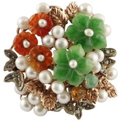 Carnelian, Green Agate, Pearls, Diamonds, 9k gold and silver Flowery Retro Ring