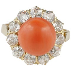 Magnificent 2.70 Carat Old Mine Diamond Salmon Coral Ring