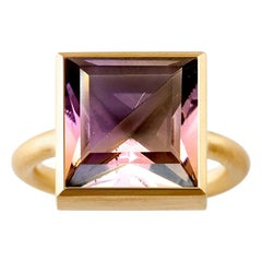 18 Karat Yellow Gold Amethyst Smoky Quartz Two-Stone Modern Cocktail Ring
