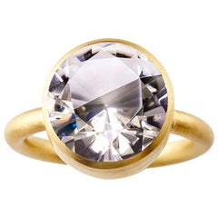 18 Karat Yellow Gold Quartz Smoky Quartz Two-Stone Modern Cocktail Ring