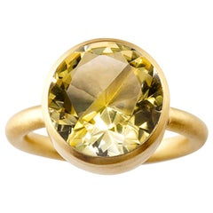 18 Karat Yellow Gold Lemon Quartz Citrine Two-Stone Modern Cocktail Ring 14-20