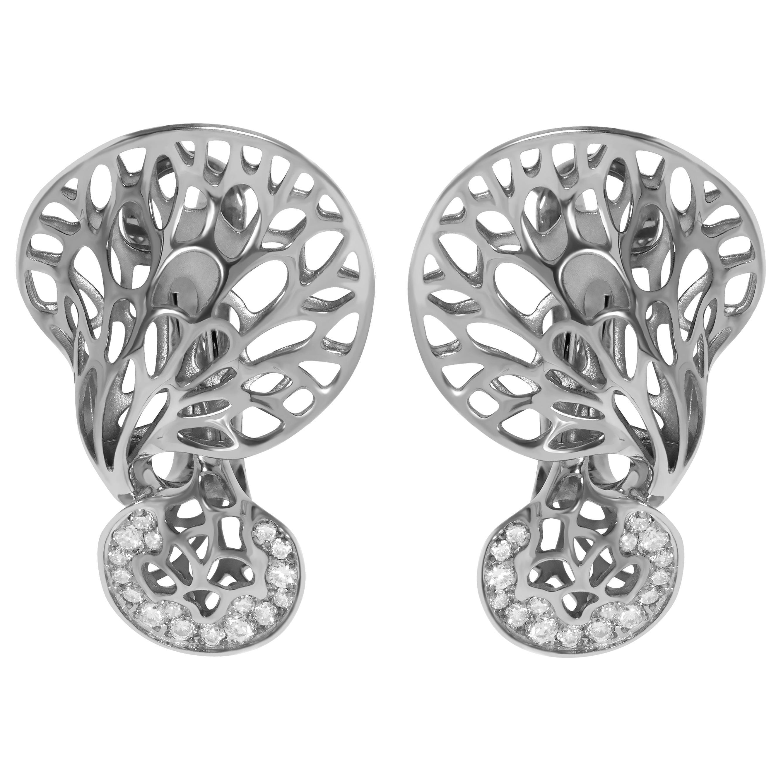 Diamonds 18 Karat White Gold Tree Mushroom Earrings