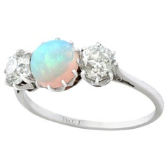 Antique Opal and 1.08 Carat Diamond Gold Trilogy Ring Circa 1920