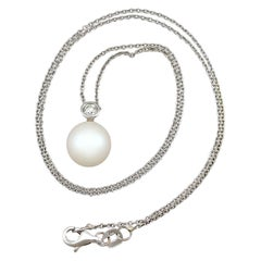 Vintage 1980 Cultured Pearl Diamond White Gold Necklace