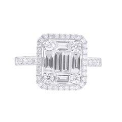 1.28 Carat GVS Diamonds Cocktail Rings Round Diamonds Baguette Diamonds 18K Gold