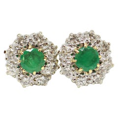 Vintage Emerald and Diamond Coronet Cluster 18 Carat Gold and Platinum Earrings