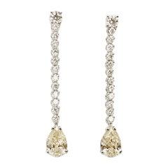 2.40 Carat Drop Diamond 1.04 Carat Diamond 18 Karat White Gold Drop Earrings
