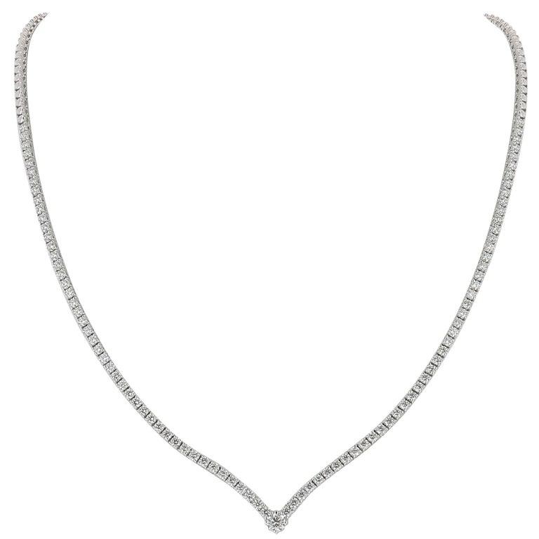 3.25 Carat GVS Round Diamonds Drop Necklace 18 Karat White Gold Riviera Necklace For Sale