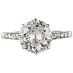 1930s Art Deco 1.35 Carat Diamond 18 Karat White Gold Solitary Ring