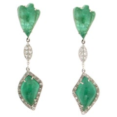 Colombian Emeralds 18 Karat White Gold Drop Earrings