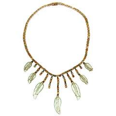 Sapphires 18 Karat Yellow Gold Quartz Choker Necklace