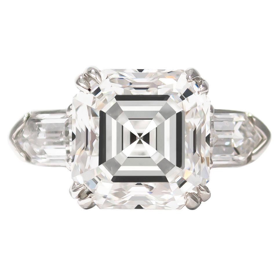 J. Birnbach GIA Certified 6.52 Carat Asscher Cut Diamond Three-Stone Ring