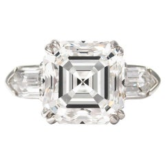 J. Birnbach GIA Certified 6.52 Carat Asscher Cut Diamond Three-Stone Ring