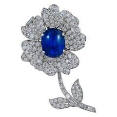 Oscar Heyman Diamond, Cabochon Star Sapphire Brooch