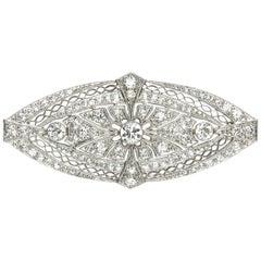 Art Deco Diamond and Platinum Brooch, Circa 1925