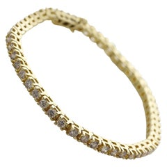 4.00 Carat Round Brilliant Shape Diamond Tennis Bracelet 14 Karat Yellow Gold