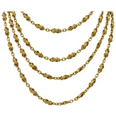 Victorian 18 Karat Gold Intricate Watch Chain Long Chain Necklace