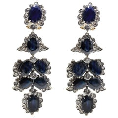 Diamonds and Sapphires Chandelier Rose Gold and Silver Earrings