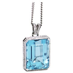 Aquamarine and Diamond 18 Carat White Gold Pendant