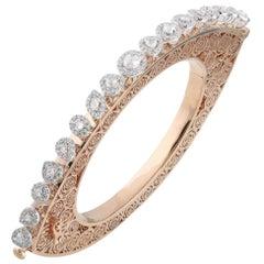 Studio Rêves Rose Cut Diamonds and Filigree Bracelet in 18 Karat Gold