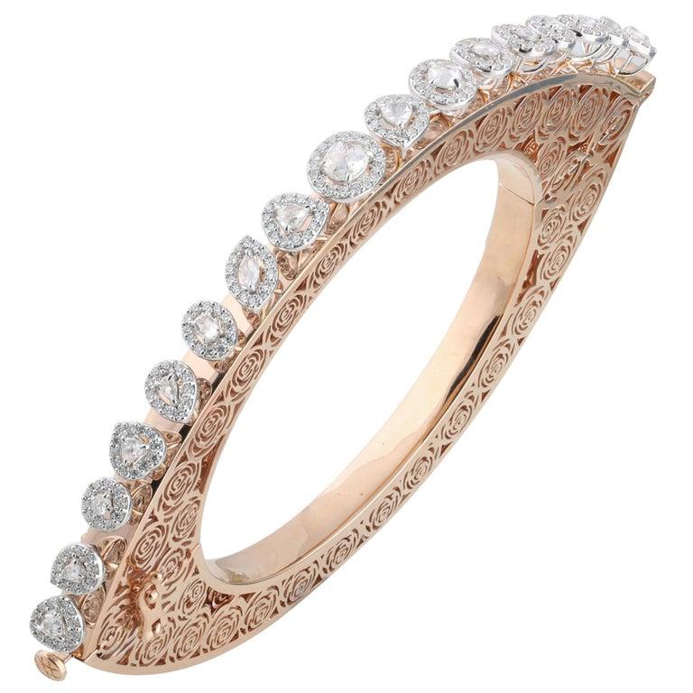 Studio Rêves Rose Cut Diamonds and Filigree Bracelet in 18 Karat Gold For Sale