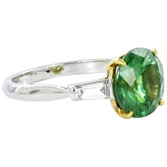 Demantoid Garnet and Diamond White Gold Ring