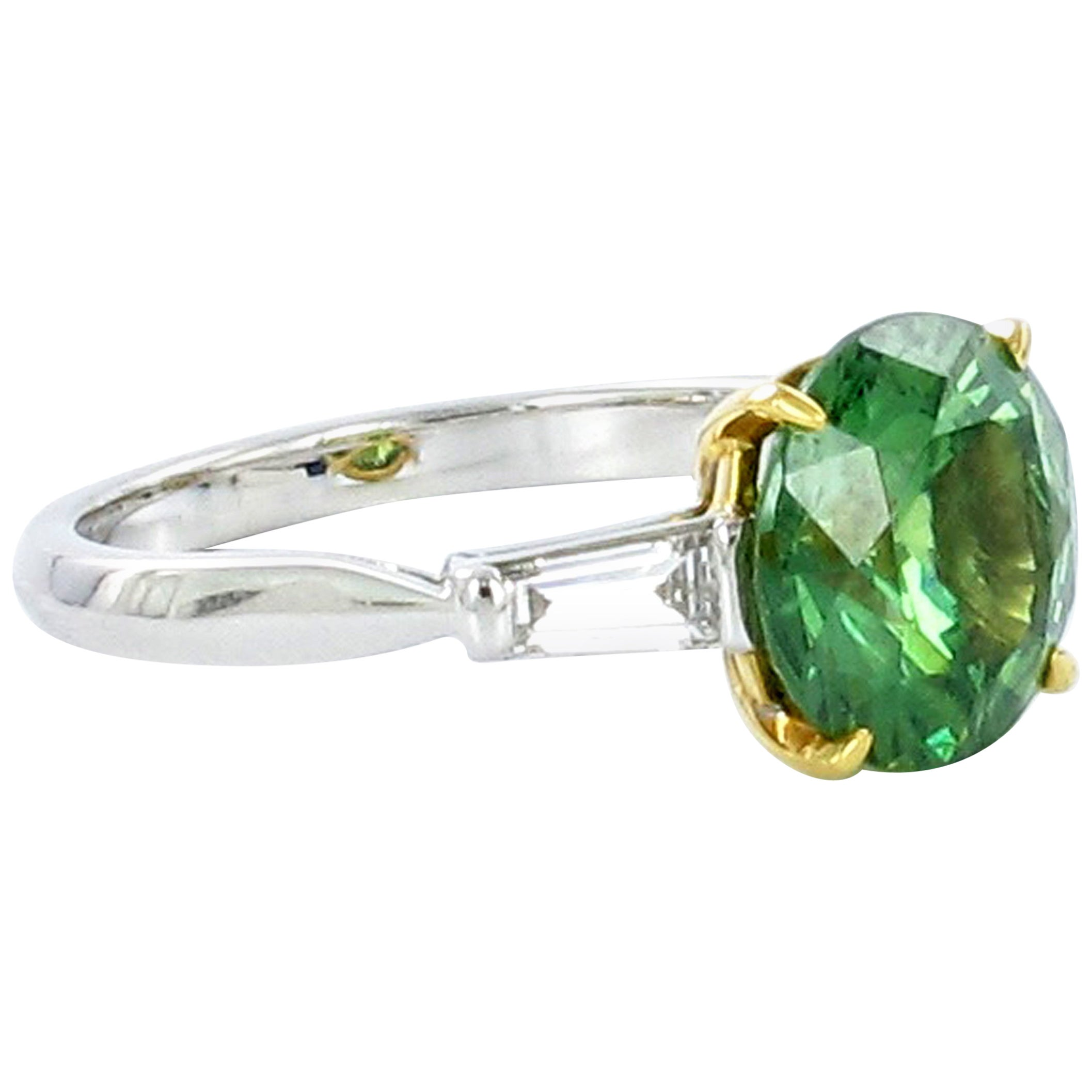 Demantoid Garnet and Diamond White Gold Ring