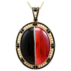 Antique Victorian Banded Agate and Seed Pearl Yellow Gold Locket