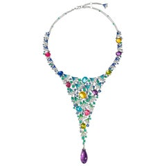 Necklace White Gold White Diamonds Emerald Sapphire Amethyst Topaz Tanzanite