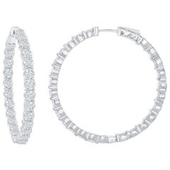 6 Carats Diamond white gold hoop Earrings