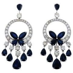 Diamond and Sapphire Chandelier Butterfly Earrings