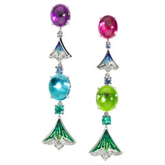 Earrings White Gold White Diamonds Emerald Sapphire Amethyst Topaz Micromosaic