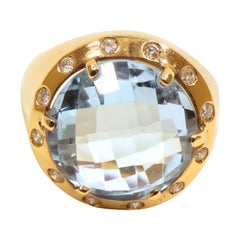 Diamonds Blue Topaz Rose Gold Ring Handcrafted in Italy by Botta Gioielli