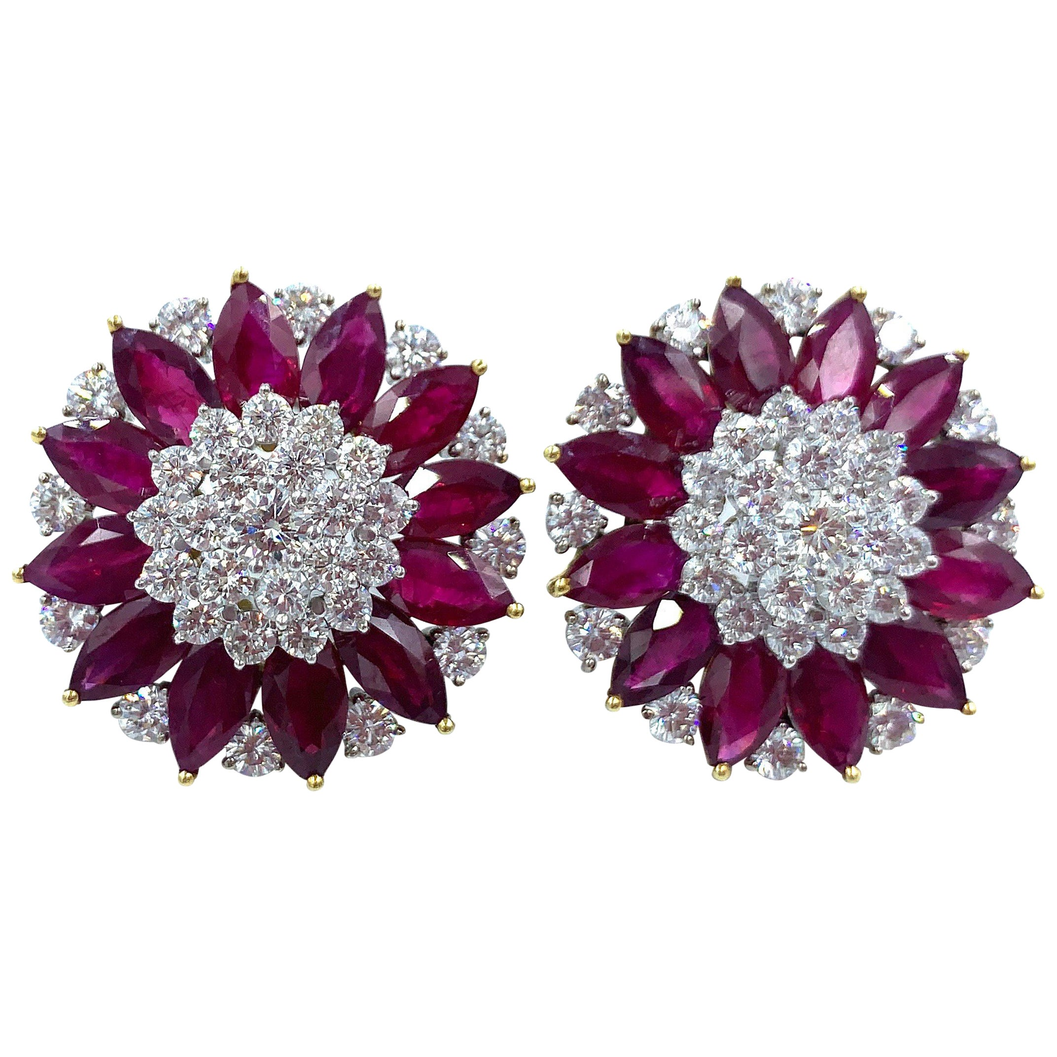Diamond and Ruby Cluster Clip Earrings 18 Karat White and Yellow Gold
