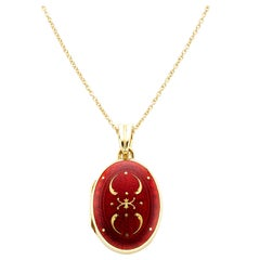 Faberge Victor Mayer Collection 18 Karat Yellow Gold Red Enamel Locket Pendant