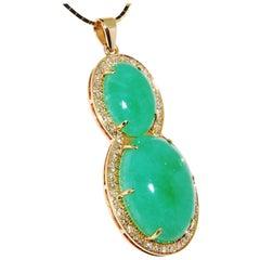 Jadeite Jade Pendant in 14 Karat Yellow Gold with Diamonds