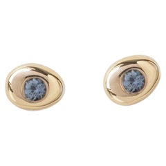 M. Hisae Handmade Small Circle Pebble Teal Sapphire 14 Karat Gold Stud Earring